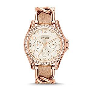 Fossil Damen Analog Quarz Uhr mit Leder Armband ES3466