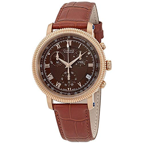 Charmex Men's President II 42mm Brown Leather Band Quartz Analog Watch 2989