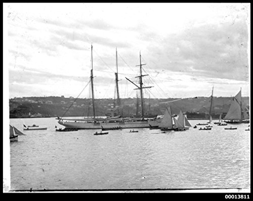 poster-steam-yacht-sunbeam-and-other-vessels-sydney-harbour-australia-maritime-australian-national