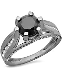 2.80 Carat (ctw) Black Rhodium Plated 14 ct White Gold Black And White Diamond Engagement Ring