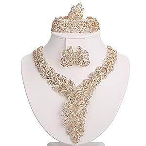 Allongé Plaqué or 18 carats avec diamants Collier Bracelet Boucle d'oreille anneau de bijoux Design élégant en forme de fleurs