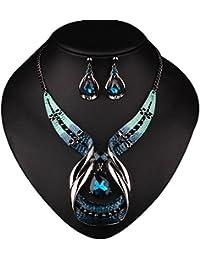 La Cabina Collier Fantaisie Collier Cristal Décoration Vêtement Pendentif Bleu avec Boucles d'oreilles Mode pour la Femme et Fille Photographie
