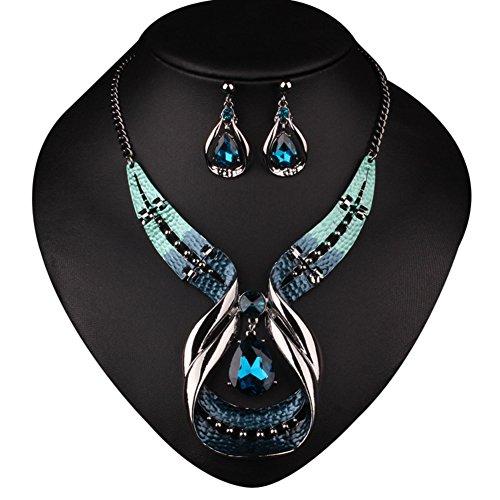 La Cabina Collier Fantaisie Collier Cristal Décoration Vêtement Pendentif Bleu avec Boucles d'oreilles Mode pour la Femme et Fille Photograph