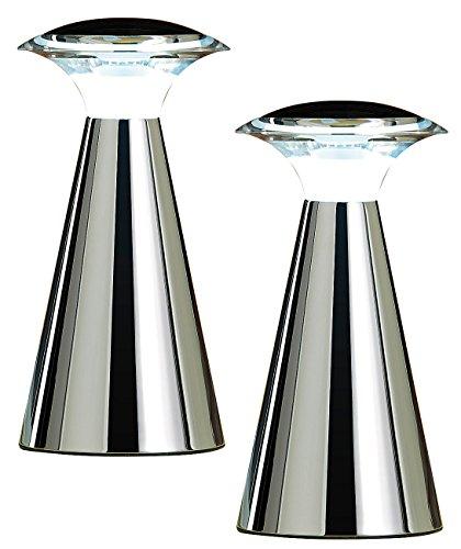 Lunartec Nachttischlampe: Edelstahl LED-Tischleuchte, 2er Set (Batteriebetriebene Tischlampe) -