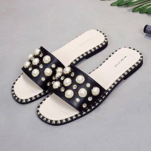 PENGFEI sandali delle donne Pantofole del rhinestone della perla Pattini della spiaggia modo estivo Femmina antiscivolo Sandali neri quadrati testa Confortevole e traspirante ( Colore : Nero , dimensi Nero