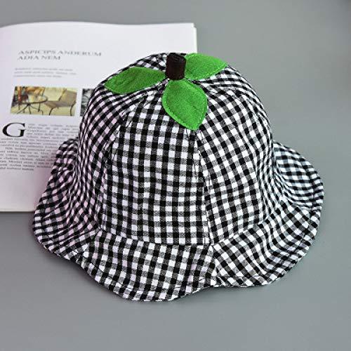 mlpnko Baby Hut Männer und Frauen Baby Visier Kinder Baumwolltuch Plaid Fischer Hut Kind Becken Hut schwarz und weiß Plaid Code (ca. 44-48 cm)