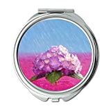 Yanteng Gemacht Desktop-Hortensie April Duschen Rosa Wasser Brieftasche Spiegel, Schminkspiegel, Taschenspiegel (tragbarer Spiegel)