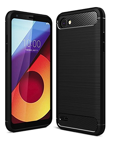 Golden Sand Original Rugged Armor Series Shock Proof TPU Case Back Cover for LG Q6 , LG Q6 Plus Mobile Phone (August 2017) (Midnight Black)