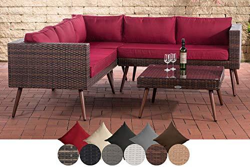 CLP Polyrattan Eck-Loungeset MOLDE I Braun-meliert I Gartenlounge I Eck-Sofa + Glastisch I 1,25mm Rattandicke 45 cm (Dunkelbraun), rubinrot
