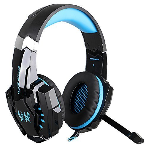 Senhai KOTION Each G9000 3,5-mm-Spiel-Spiel-Kopfhörer Ohrhörer Stirnband mit Mikrofon LED-Licht für Laptop Tablet Handys PS4 Black and Blue