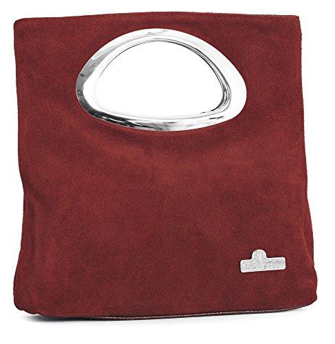 BHBS Damen Reiner Wildleder Leder Top behandeln Abend Clutch Tasche 24 x 15 x 7 cm (B x H x T) Rot