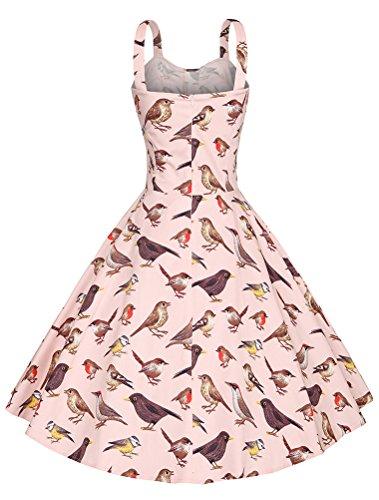 MatchLife Femme Vintage 1950's Swing Rockabilly Rose Oiseau