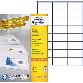 AVERY Zweckform 3475 Adressetiketten (A4, Papier matt, 2,400 Etiketten, 70 x 36 mm, 100 Blatt) weiß