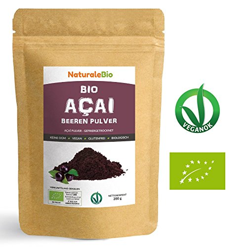 Açaí Beeren Pulver Bio [ Gefriergetrocknet ] 200g | Pure Organic Acai Berry Powder ( Freeze - Dried ) | 100% aus Brasilien, Getrocknet, Rohkost und Extrakt aus Pulp der Acai-Beeren Frucht | Superfood Reich an Antioxidantien und Vitaminen | Ideal für Saft, Smoothie, Rezepte, in der Müsli | 100% Vegan Friendly | NATURALEBIO (Acai Berry Pure)