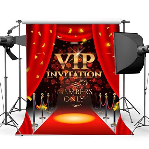 EdCott Vinyl 3X5FT VIP Einladung Hintergrund Hollywood Kulissen Luxuriöse Bühne Roter Teppich Vorhang Fallen Golden Banner Bokeh Pailletten Innen Fotografie Hintergrund für Fotostudio Requisiten