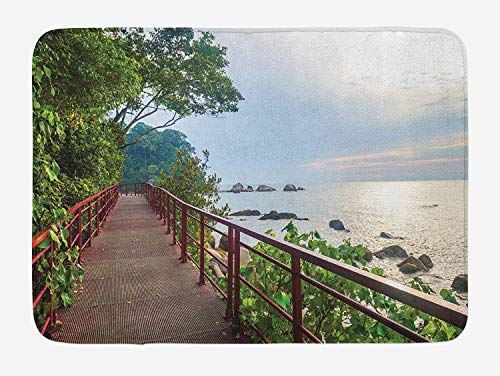 Track Slip (JIEKEIO Beach Bath Mat, Walkway and Jogging Track by Sea in Cinque Terre Italian Mediterranean Vacation, Plush Bathroom Decor Mat with Non Slip Backing, 23.6 W X 15.7 W Inches, Green Chocolate)