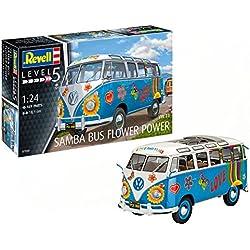 Revell- Maqueta Volkswagen VW T1 Samba Bus Flower Power, Kit Modelo, Escala 1:24 (07050), 18,1 cm de Largo (