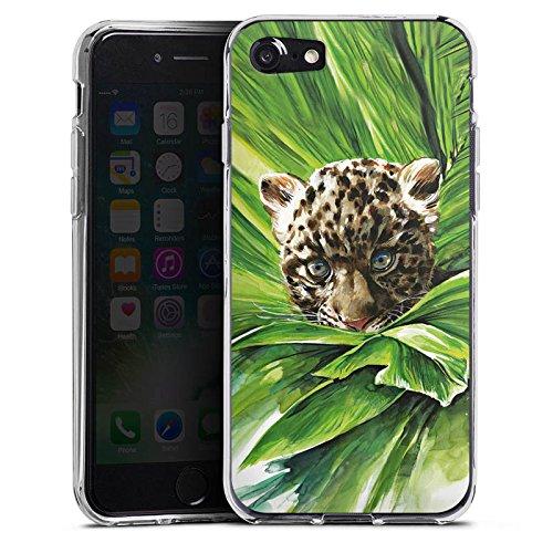 Apple iPhone X Silikon Hülle Case Schutzhülle Leoparden Baby dschungel Raubtier Silikon Case transparent