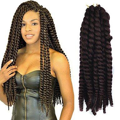 GANTA @ 12-24 Zoll Häkelarbeit Flechten Havana Mambo Afro Twist Haarverlängerung 99j # , burgundy
