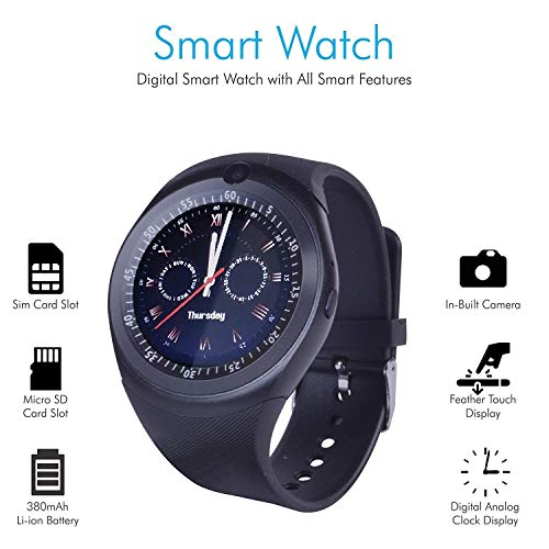 KIMIKU Y1 Smart Watch with Digital Touch Screen, Bluetooth, Sim Card, Memory Card Slot, Inbuilt Camera Compatible with Lenovo K5 Play Mobile Phone