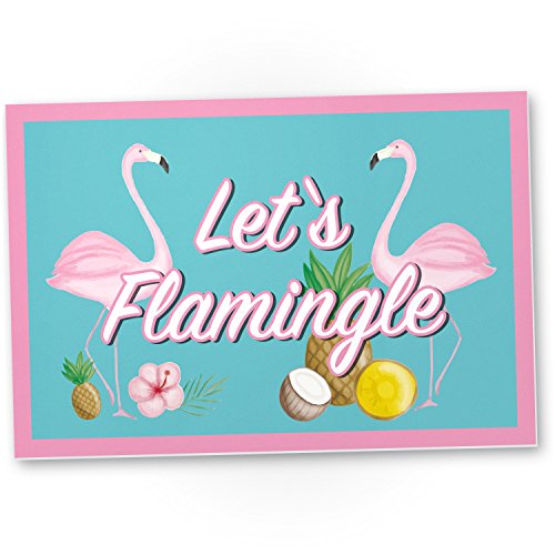 DankeDir! Let's Flamingle – Flamingo Kunststoff Schild mit Spruch, Wanddeko/Party Deko/Dekoration Wohnung – süße Geschenkidee Geburtstagsgeschenk – Geschenk Beste Freundin