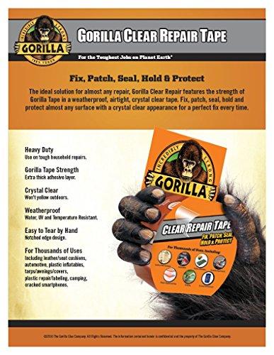 Gorilla 6027002-12 Clear Repair Duct Tape (12 Pack), 1.88