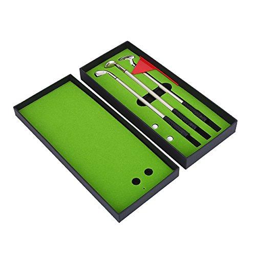 VGEBY Golf Club Pen, 3PCS Golf Stationary Set Geschenkbox mit Flag 2 Balls Mini Golf Clubs Kugelschreiber f¨¹r Familienfreunde