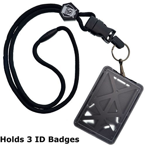 Top Loading Drei ID Card Badge Holder mit Heavy Duty Lanyard W/Abnehmbare Metall Clip und Schlüssel Ring Durch Specialist ID, verkauft einzeln (One Halterung/3Karten Innen) schwarz