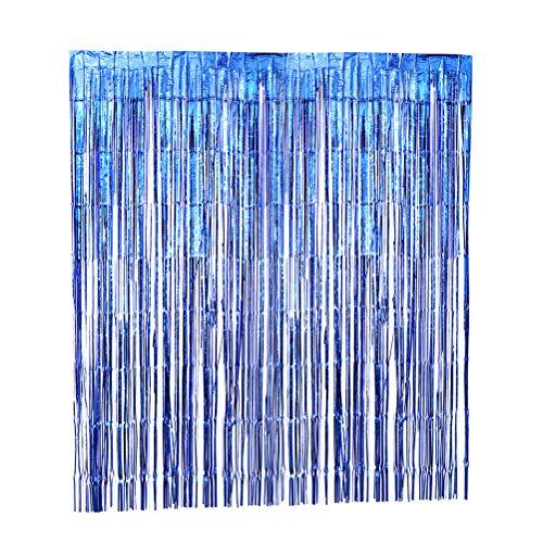 3pcs Metallic Shiny Lametta Fringe Vorhang Schimmer Folie Tür und Fenster Regen Vorhang Streamer Cover für Foto Hintergrund Hochzeit Geburtstag Party Decor (blau) - 1x2m