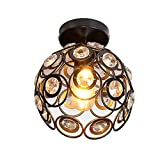 Retro Vintage Deckenlampe Deckenstrahler Industrie Metal Antiquitäten Innen beleuchtung Kreative Kristall Deckenleuchte Loft Wohnzimmerlampe Küchen Schlafzimmer Schwarz Pendelleuchte Edison Lampe 20cm