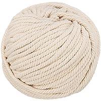 Jeteven 50m Cuerda Cordón Algodón Macramé Hilo DIY Craft Cordón Carrete para Tejer Decoración (6 mm)