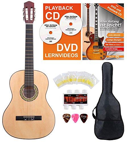 Classic Cantabile AS-851 Linkshänder Konzertgitarre 4/4 Starter Set (6 Saiten, Lindenholz, Griffbrett: Blackwood, Zubehörset inkl. Tasche, Schule, Stimmpfeife, Nylonsaiten) natur -