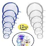12 PCS Tapa elástica de silicona | Fundas para tazones de silicona Fundas protectoras para alimentos Tapa para colgar Tapa para taza de olla - Sin BPA, Lavavajillas, Microondas, Horno y congelador