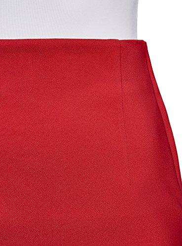 oodji Collection Damen Gerader Rock mit Hohem Bund Rot (4500N)