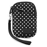 USA Gear Tasche für Kompaktkameras Schutzhülle für kompakte Digitalkameras aus Neopren, Kratz- & Wetterfest, Extra Zubehörfach, Gepunktet, Ideal für Canon IXUS 185 & Weitere Kameras