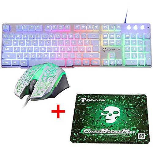 UrChoiceLtd Teclado Ratón Teclado Arcoiris Arcoiris Backlit Teclado USB + 2400DPI Ratón 6 Botones Optical LED Gaming Ratón Para Ordenador + Juego Mouse Pad 240 * 200 * 3mm Tamaño Estándar (Blanco)