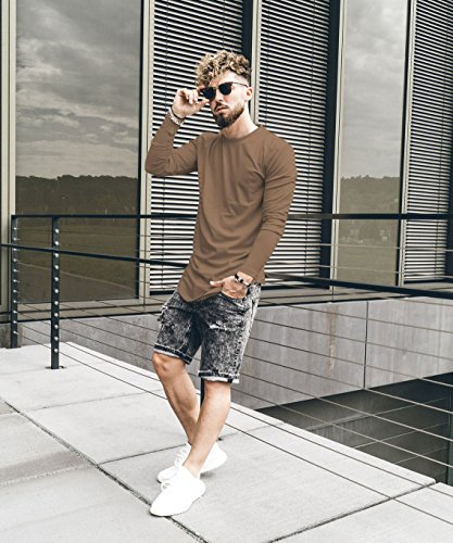 Phoenix Oversize Round Longsleeve T-Shirt Herren Langarm Longshirt Abgerundet Braun