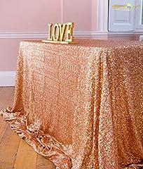 Idea Regalo - ShinyBeauty Tovaglia con paillettes, 125 x 180 cm, tessuto con lustrini, per matrimonio, colore: champagne, Rose Gold Color, 125x180cm Sequin Tablecloth