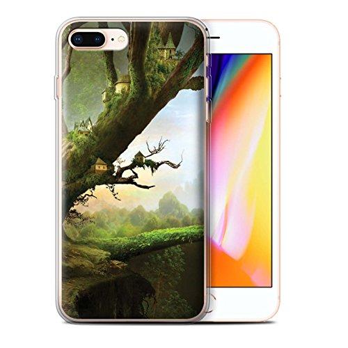 Officiel Elena Dudina Coque / Etui Gel TPU pour Apple iPhone 8 Plus / Ville dans Arbres Design / Fantaisie Paysage Collection Ville dans Arbres