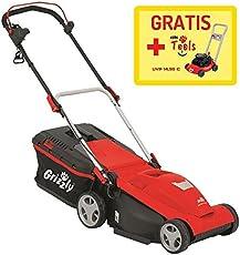 Grizzly Elektromäher ERM 1637-3 mit Stow-Funktion - Platzsparende senkrechte Lagerung Inkl. Kinderrasenmäher gratis!