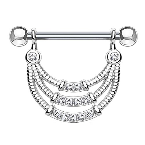 beyoutifulthings Brustwarzen-Piercing ANHÄNGER 3 Reihen ZIRKONIA Brust-Piercing Nippel-Piercing Edelstahl Clear Silber 1,6mm 14mm