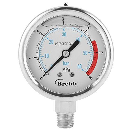 Flüssigkeit Zifferblatt (TOPINCN Luft Druckanzeige 0-60Bar / 0-6Mpa 60mm Zifferblatt Luft hydraulisch Wasser Druckanzeige Manometer Meter mit Metall Fall 1/4
