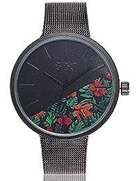 047035aedc9b Reloj de Cuarzo para Mujer Flor de Moda Banda de Malla de Acero Inoxidable  Elegante Casual Relojes…