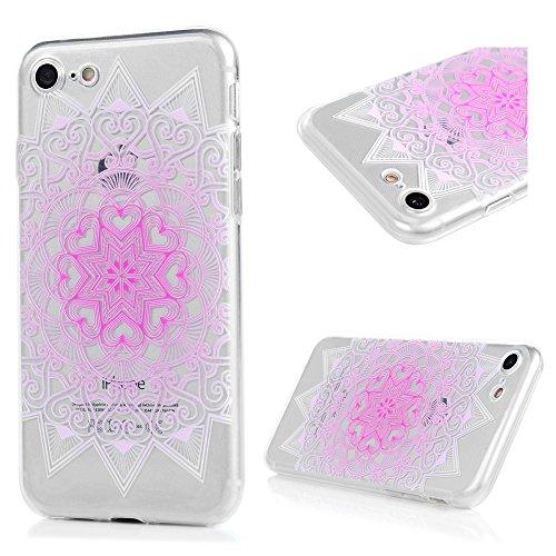 YOKIRIN iPhone 7 4.7 Zoll Crystal Clear Case Schutzhülle Slim Fit TPU Silikon Handyhüll Hülle Cover Handytasche Etui Handycase Tasche Silikonhülle Transparent Bunte Rote Totem Farbe 1