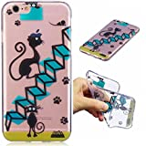 Funda iPhone 6 PLUS silicona transparente Ultra-fino TPU suave Carcasa Bumper DECHYI Patrón arte-Scale e gatti