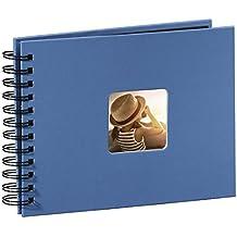 Hama Fine Art - Álbum de fotos, 50 páginas negras (25 hojas), álbum con espiral, 24 x 17 cm, con compartimento para insertar foto, azur azul
