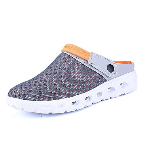 CCZZ Herren Damen Atmungsaktiv Mesh Sandalen Sommer Hausschuhe Rutschfest Outdoor Sport Pantoletten Sandalen Slip-On Garden Clogs (EU 45, Grau-orange)