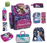 Disney die Eiskönigin Schulranzen Set 9tlg. Federmappe Dose/Flasche Sporttasche Regen/Sicherheitshülle PL Frozen