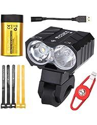 Eclairage Velo Rechargeable, Evolva Future Technology Lampe Avant Velo USB Led Vtt Cree Eclairage Puissant Velo Lampe Vtt 1800 Lumens Avec Batterie Samsung 6400 mah