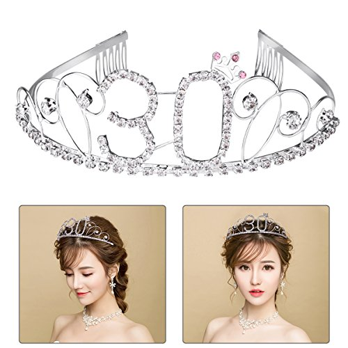 Happy Birthday 30th Silver Crystal Tiara Crown